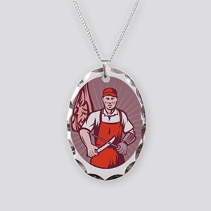 Butcher sharpening knife in bu Necklace Oval Charm