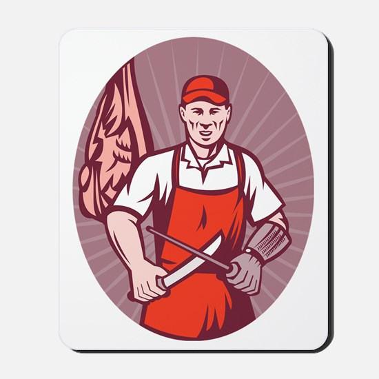 Butcher sharpening knife in butchery Mousepad