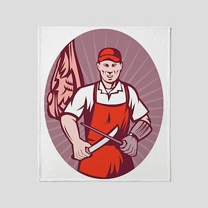 Butcher sharpening knife in butchery Throw Blanket