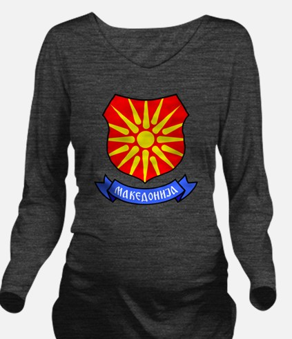 Macedonia Flag Crest Long Sleeve Maternity T-Shirt