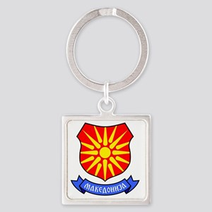 Macedonia Flag Crest Square Keychain
