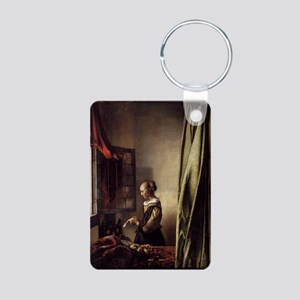 Girl Reading a Letter at a Aluminum Photo Keychain