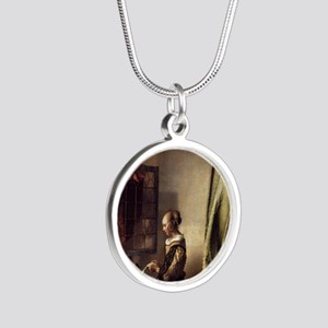 Girl Reading a Letter at an  Silver Round Necklace