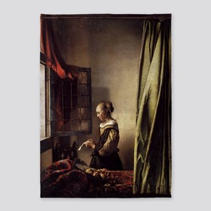 Girl Reading a Letter at an Open Wi 5'x7'Area Rug