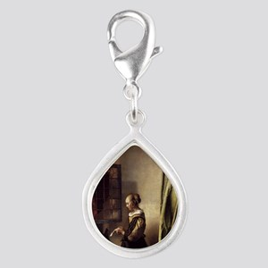 Girl Reading a Letter at an Silver Teardrop Charm