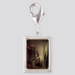 Girl Reading a Letter at an  Silver Portrait Charm