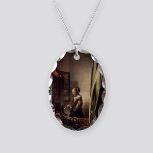 Girl Reading a Letter at an Op Necklace Oval Charm