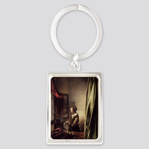 Girl Reading a Letter at an Open Portrait Keychain