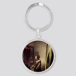 Girl Reading a Letter at an Open Wi Round Keychain