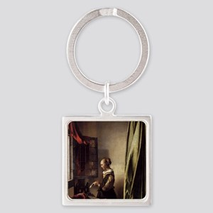 Girl Reading a Letter at an Open W Square Keychain
