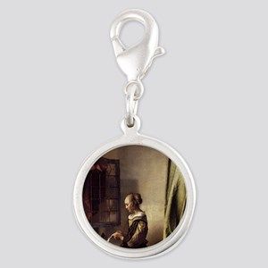 Girl Reading a Letter at an Op Silver Round Charm