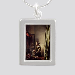 Girl Reading a Letter at Silver Portrait Necklace