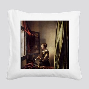 Girl Reading a Letter at an O Square Canvas Pillow