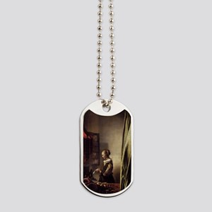 Girl Reading a Letter at an Open Window Dog Tags