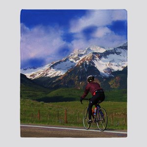 Cycling_the_Rockies Throw Blanket