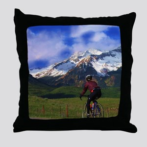 Cycling_the_Rockies Throw Pillow