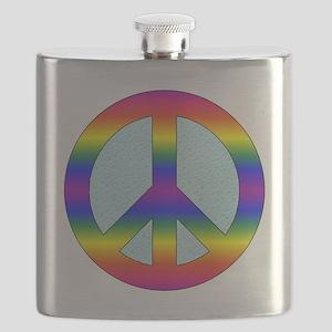 Peace Sign (Rainbow) Flask