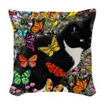 Freckles in Butterflies I Woven Throw Pillow