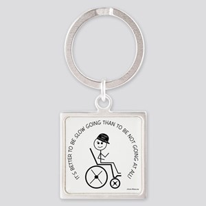 10slow_going_wheelchair1 Square Keychain