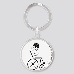 button_slow_going_wheelchair1 Round Keychain