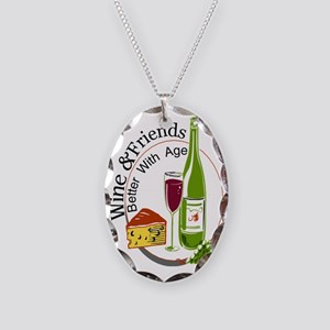 Wine and Friends Better Necklace Oval Charm