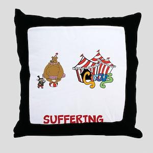 3 ring circus blk Throw Pillow
