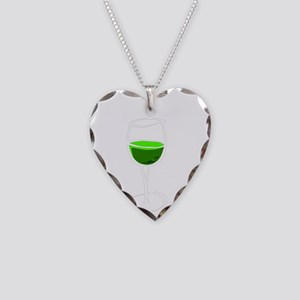 got green wine white Necklace Heart Charm