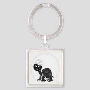 neg_slow_going_turtle Square Keychain