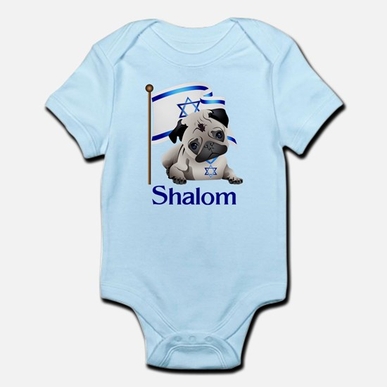 Shalom Pug with Israeli Flag Body Suit