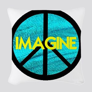 IMAGINE with PEACE SYMBOL Woven Throw Pillow