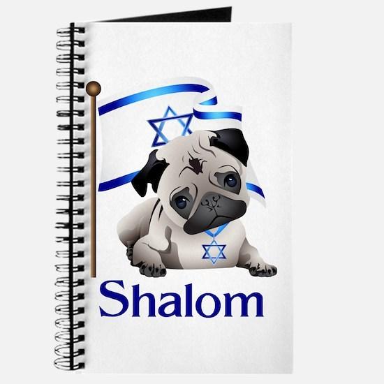 Shalom Pug With Israeli Flag Journal