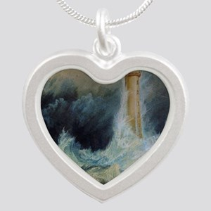 Bell Rock Lighthouse Silver Heart Necklace