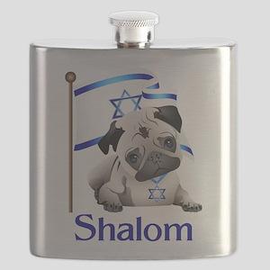 Shalom Pug with Israeli Flag Flask