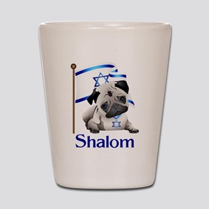 Shalom Pug with Israeli Flag Shot Glass