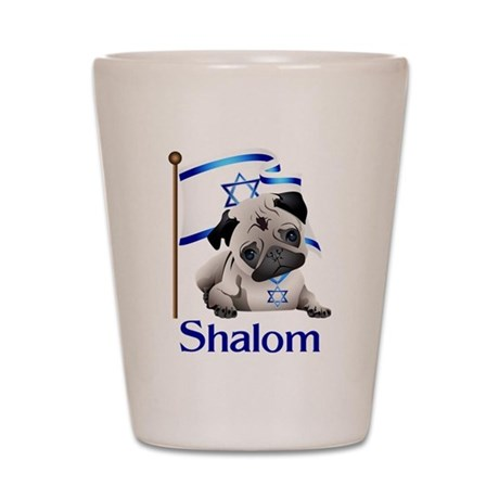 Shalom Pug with Israeli Flag Shot Glass