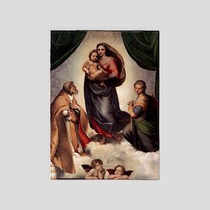 The Sistine Madonna 5'x7'Area Rug