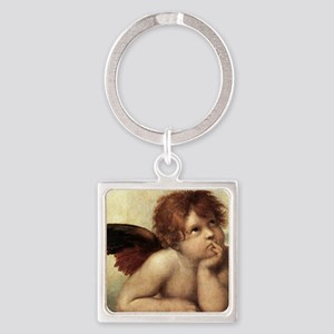 The Sistine Madonna (2nd detail) Square Keychain