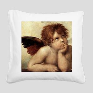 The Sistine Madonna (2nd deta Square Canvas Pillow