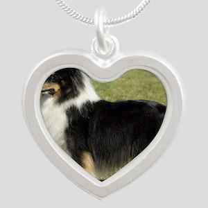 Shetland Sheepdog 9J088D-06 Silver Heart Necklace