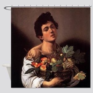 Boy with a Basket of Fruit Shower Curtain