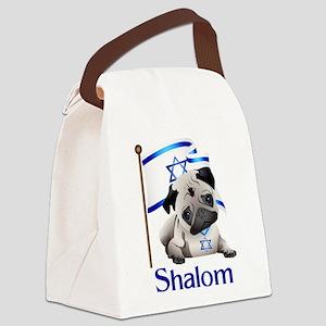 Shalom Pug with Israeli Flag Canvas Lunch Bag