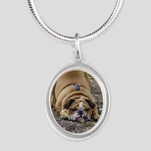 WrinkleCard1 Silver Oval Necklace