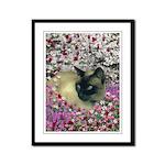 Stella Siamese Cat Flowers Framed Panel Print