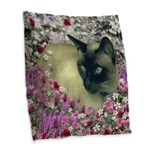 Stella Siamese Cat Flowers Burlap Throw Pillow