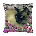 Stella Siamese Cat Flowers Woven Throw Pillow