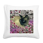 Stella Siamese Cat Flowers Square Canvas Pillow