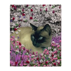 Stella Siamese Cat Flowers Throw Blanket