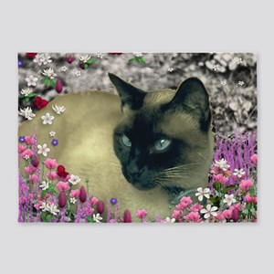 Stella Siamese Cat Flowers 5'x7'Area Rug