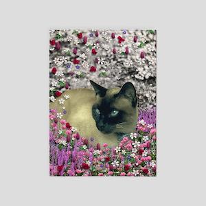 Stella Siamese Cat Flowers 5'x7'Area Rug