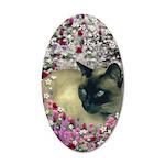 Stella Siamese Cat Flowers 35x21 Oval Wall Decal